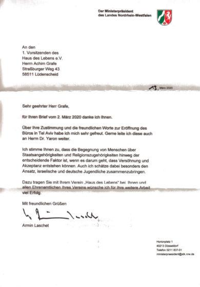 Antwortschreiben des Ministerpräsidenten von NRW